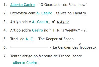 "Transkription des Dokumentes BNP/E3 8-3v mit                                                  hervorgehobenen Namensvorkommen, hier ""Alberto                                                  Caeiro"""